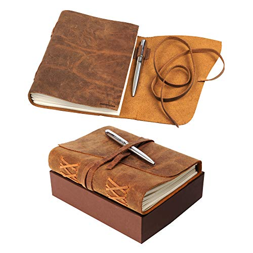 Leather Journal Notebook Gift Set with Luxury Pen � Handmade Genuine Buffalo Leather Travel Journal with Unique Hand-Stitched Coptic Leather Binding � Premium Recycled Acid-Free Unlined Cotton Paper