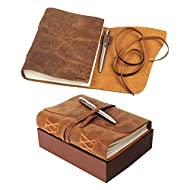 Leather Journal Notebook Gift Set with Luxury Pen – Handmade Genuine Buffalo Leather Travel Journal with Unique Hand-Stitched Coptic Leather Binding – Premium Recycled Acid-Free Unlined Cotton Paper