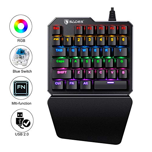 One Handed Keyboard One-Handed Mechanical Gaming Keyboard RGB LED Backlit SADES Portable Mini Gaming Keypad for LOL/PUBG/Wow/Dota/OW/Fps Game