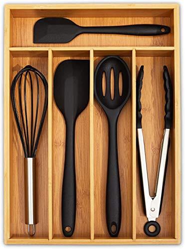 simpdecor Bandeja de bambú para cubiertos de cocina, organizador de cajones, 5 compartimentos