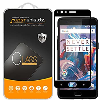 2 Pack  Supershieldz Designed for OnePlus 3 and OnePlus 3T Tempered Glass Screen Protector  Full Screen Coverage  Anti Scratch Bubble Free  Black