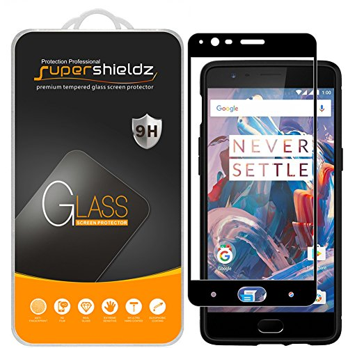 Supershieldz (2 Pack) for OnePlus 3 and OnePlus 3T Tempered Glass Screen Protector, (Full Screen Coverage) Anti Scratch, Bubble Free (Black)