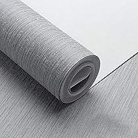 2枚不織布壁紙、ピール壁紙壁画ステッカーコンタクトペーパー、取り外し可能なビニールロール紙-グレイ1