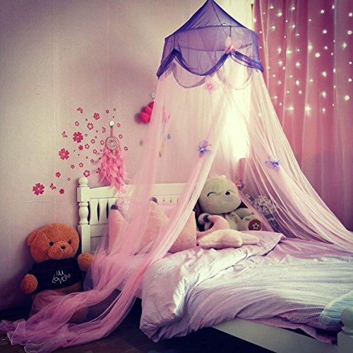 Betthimmel Für Kinder, Prinzessin Moskitonetz Baby Baldachin Spielzimmer Mückennetz Kinder, Fantasie Schmetterlings Sterne Prinzessin Hängende Zelt Moskitonetz Für Schlafzimmer, Hohe 250cm (Pink Lila)