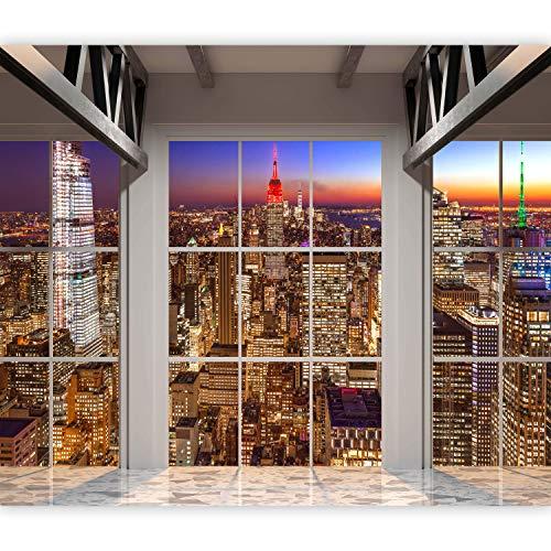 murando Fototapete Fenster nach New York 350x256 cm Vlies Tapeten Wandtapete XXL Moderne Wanddeko Design Wand Dekoration Wohnzimmer Schlafzimmer Büro Flur Manhattan City d-A-0111-a-a