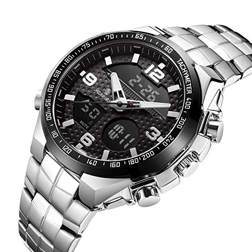 WTY Herren Quarzuhr Digital Dual Display Lässige wasserdichte Armbanduhren Kompletter Kalender Leuchtzeiger Wochenanzeige Multifunktionsuhren,Schwarz