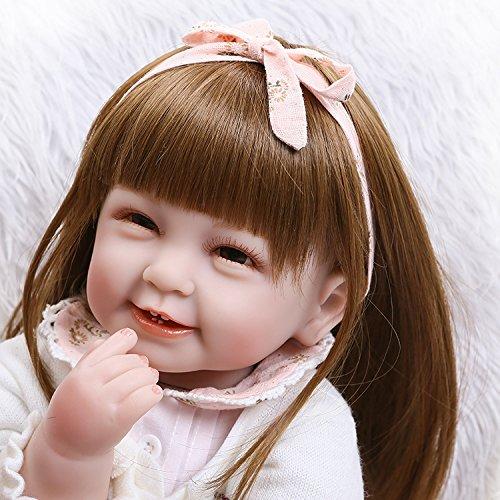 ASDAD 55 Cm De Pelo Largo De Silicona Reborn Baby Doll Dolls para Niños Juguetes para Niñas 22 Pulgadas Niño Bebe Babies Born Dolls Toy Regalos