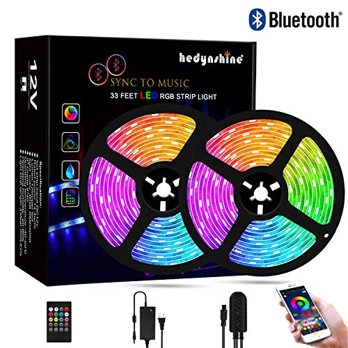 Bluetooth Music Strip Lights 33Feet, Hedynshine Strip Lights Sync to Music SMD 5050 300pcs LED Chips, RGB 12V Rope Lights, Smart Phone App Controled color changing light strips