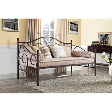 Sturdy Victoria Bed Frame Daybed Metal Platform Slates Support Easy-Assembly Contemporary Heavy Duty Durable Headboard Twin Size Traditional Scrollwork Extra Seating Bedroom Guest Room, Bronze Finish