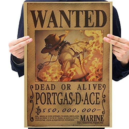 Skisneostype One Piece Wanted Posters Affiche de Papier Kraft de Pâte de Bois Rétro Luffy Choba, Nouvelle édition(H10)