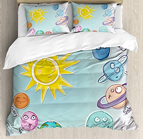 459 Space Duvet Cover Bedding Set King Size, Cartoon Sun Planets of Solar System Fun Celestial Chart Baby Kids Nursery Theme, Decorative 3 Piece Bedding Set with 2 Pillow Shams, Almond Green