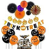 JoyTplay Decoraciones de fiesta de Halloween, abanicos de flores de papel colgantes Panal de miel, pancarta de truco o trato, globos negros naranjas, adornos de magdalenas de Halloween