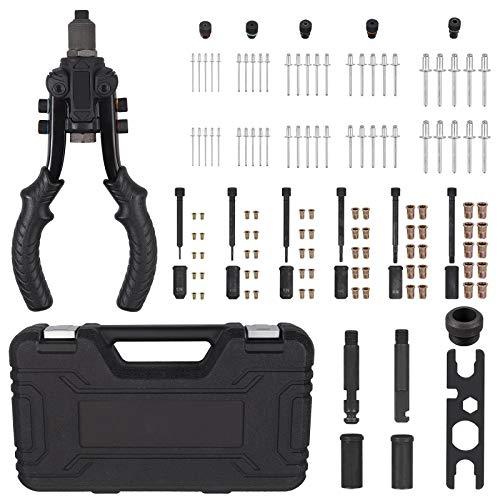 AUTOUTLET Pistola Remachadora 3 en 1, Kit de Alicates para Remaches, 10' Pistola de Remaches Profesional, 6 Mandriles M3-M10, 60PCS Tuercas, 2.4-6.4 Cabezas de Remache, 50PCS Remaches, 2 Brocha Curva