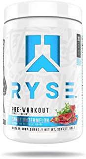 Ryse PRE Workout | Ryse Up Supplements | Fuel Your Greatness™ | Energy, Endurance, Focus, Next Level Pump, Citruline, Taurine, Arginine, CarnoSyn® Beta Alanine, 20 Servings (Candy Watermelon)