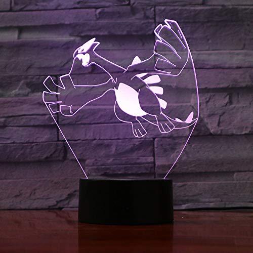 Pokemon Go Lugia Figur Baby Nachttischlampe LED Farbwechsel Luminaria Neuheit Nachttischlampe Kinder Geschenk LED Nachtlicht Kinder Lugia