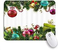 NIESIKKLAマウスパッド 松まつり小枝で冬祭り新年のカラフルな輝きクリスマスボール ゲーミング オフィス最適 高級感 おしゃれ 防水 耐久性が良い 滑り止めゴム底 ゲーミングなど適用 用ノートブックコンピュータマウスマット