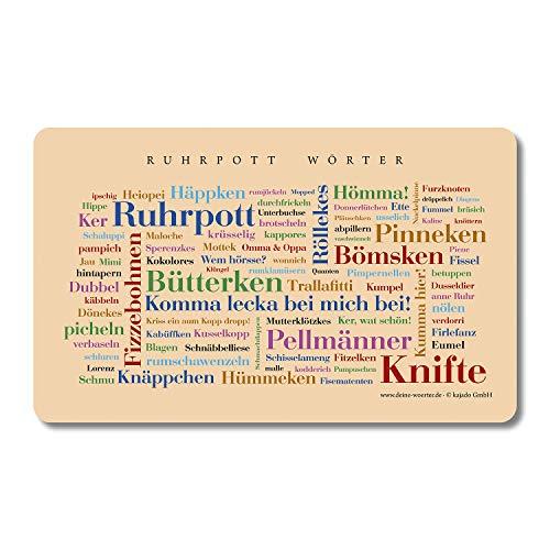 Frühstücksbrettchen Ruhrpott Wörter, Tagcloud mit schönen Wörtern aus dem Ruhrgebiet. Eine originelle und schöne Geschenkidee