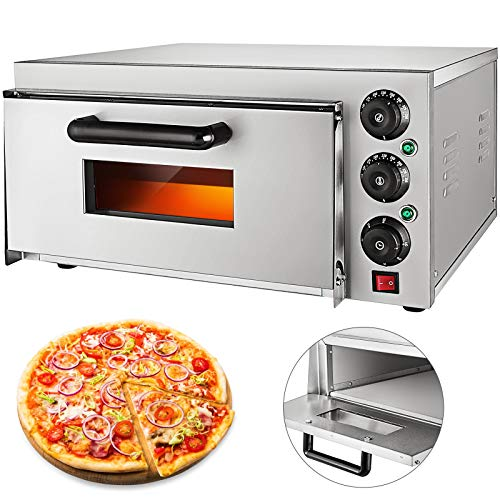 VEVOR 14'' Commercial Oven, 2200W Stainless Steel Commercial Pizza Oven,110V Countertop Electric Pizza and Snack Oven,Deluxe Pizza and Multipurpose Oven,for Restaurant Home Pizza Pretzels Baked Roast Yakitori