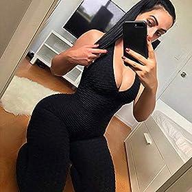 SEASUM Women Texture Bodysuit Sleevesless Sport One-Piece Backless Sexy Slimming Bodycon Rompers Jumpsuit