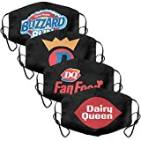 4Pack Women Men Dairy-Queen-Logo- Mouth Cover Comfortable Face Mask with Adjustable Ear Loops
