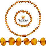 Raw Baltic Amber Necklace and Bracelet Gift Set (Unisex Honey Raw 12.5 Inches/5.5 Inches) - Certified Premium Quality Raw Baltic Sea Amber