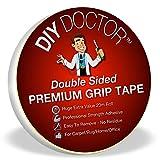 DIY Doctor - Cinta adhesiva extrafuerte de doble cara para alfombras, rollo de 20m y 21mm de ancho