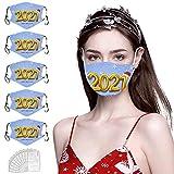 YpingLonk 5PCS Bufanda Protectora Facial con 10 filtros para el Día de San Valentín 2021 Año Gancho Ajustable Mantón Deportivo al Aire Libre de 3 Capas