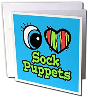 3dRosa gc_106538_2 Grußkarten Bright Eye Heart I Love Sock Puppets , 15 x 15 cm, 12 Stück B0713QTHP1  Einfach