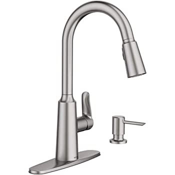 Moen 87731srs Glenshire Spot Resist Stainless One Handle High Arc Pulldown Kitchen Faucet Amazon Com
