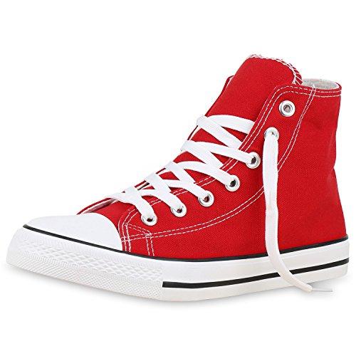 SCARPE VITA Herren High Sneakers Stoffschuhe Sportschuhe Kult Schnürer 129805 Rot 38