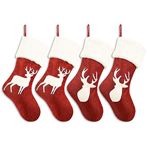 WERNNSAI Calze Natalizie Rrosse - Tela Ruvida Calze di Natale e Portacalze Natalizie Decorazioni Appendere, Set di 4