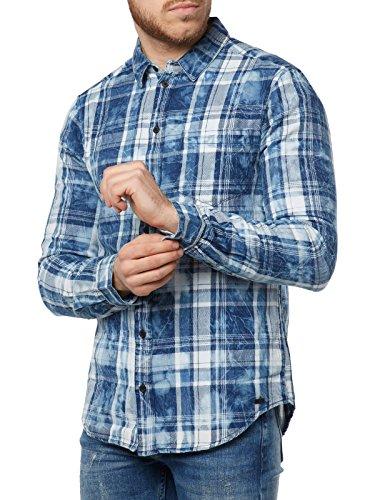 Tigha Hemd Herren Freizeithemd Gestreift TOMKE 103033 Blau Blue Men, Kragenweite:M