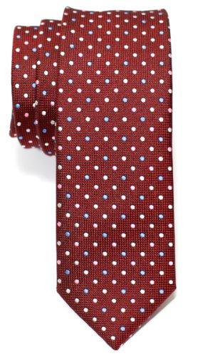 Retreez Corbata de microfibra fina con lunares de época tricolor para hombres Rojo burdeos