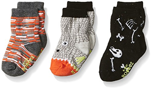 Robeez Baby Boys' 3-Pack Socks, Dino Dan - Gray/Orange/Glow-in-the-Dark, 12-24 Months