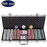 Display4top Set de Poker 500 jetons Laser Haute qualité 12 g Noyau en Métal, avec étui en Aluminium, 2 Jeux de Cartes, revendeur, Petit Store, Gros Boutons aveugles et 5 Dés