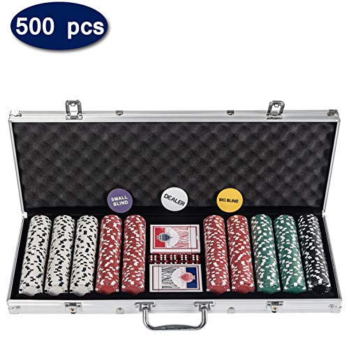 D4P Display4top Super Set da Poker - 500 Chips Laser da 12 Grammi con Centro in Metallo,2 mazzi di Carte, mazziere, Piccoli ciechi, Grandi Pulsanti ciechi e 5 Dadi (500 Chips)