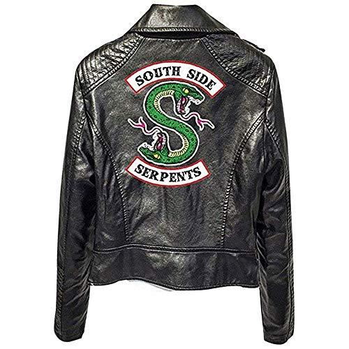 Naixin Chaqueta de Serpientes de Southside para Mujer y Hombre, Chaqueta de Serpiente de Cuero de Riverdale Logotipo con Estampado de Cremallera Trajes de Cuero de Streetwear