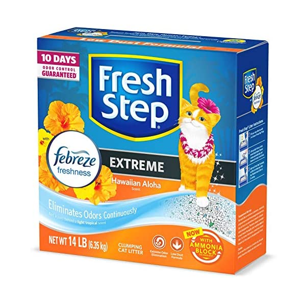 Fresh Step Scented Litter with the Power of Febreze, Clumping Cat Litter – Hawaiian Aloha, 14 Pounds, Model:31686