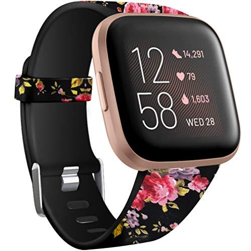 Wepro Kompatibel für Fitbit Versa Armband/Fitbit Versa 2 Armband, Wasserdichtes Blume Ersatz Armbänder Musterband Kompatibel mit Fitbit Versa/Fitbit Versa Lite Smartwatch, Klein Pinke Blume