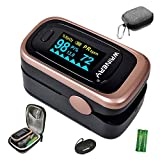Oxygen Saturation Monitor, Pulse Oximeter Fingertip, Oxygen Monitor, O2 Saturation Monitor, OLED Portable Oximetry with Batteries, Lanyard (Rose Gold-Royal Black)