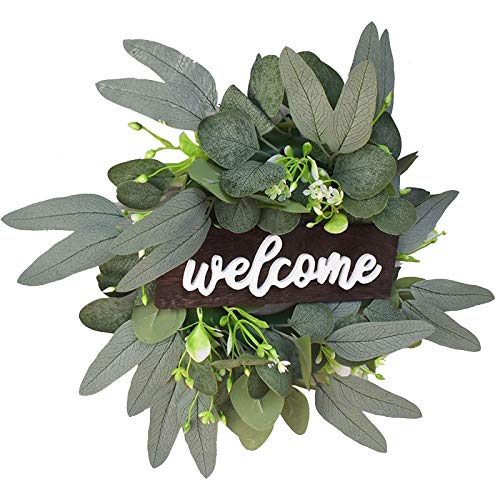HUHU833(TM) Artificial Boxwood Wreath, Green Leaves Wreaths, Front Door Welcome Wall Hanging Garland, Home Office Party St Patricks Day Easter Festival Decoration