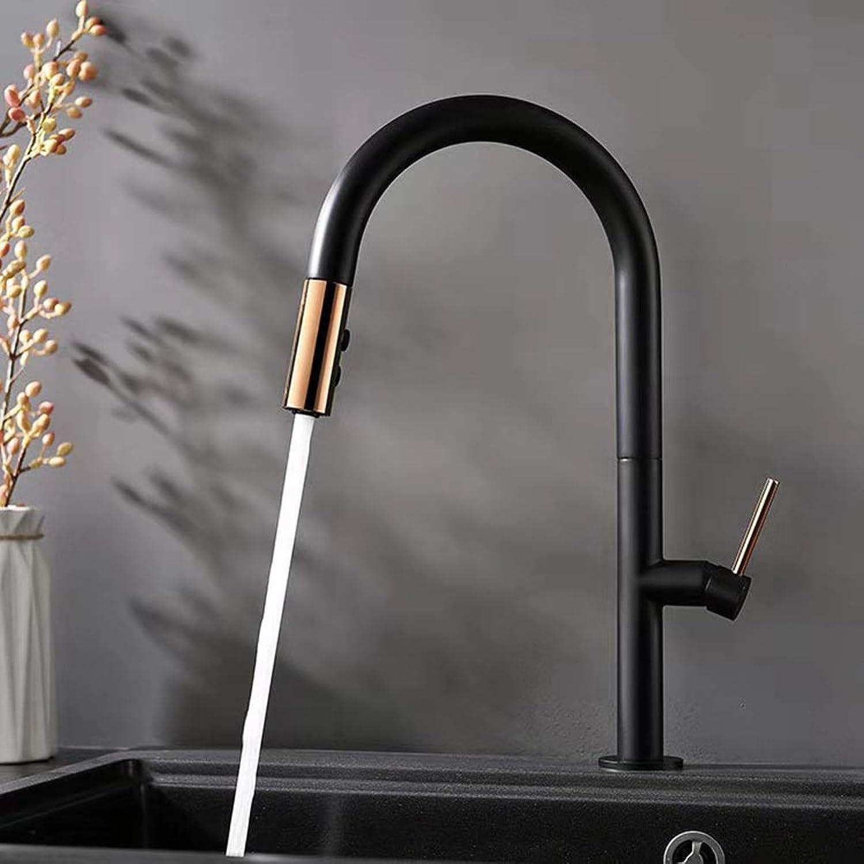 MNSSRN Ausziehbarer Küchenarmatur aus Kupfer, einfaches warmes und kaltes Wasser sparendes Sprudelbad, weiches Wasser kann gedreht Werden, Waschbecken in der Küche