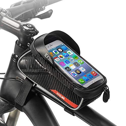 E-More Bici Borse Bicicletta Telaio Anteriore Borsa Impermeabile Manubrio Ciclismo Top Tubo Touch Screen Visiera Solare Portacellulare Grande capacità Adatto per telefoni sotto 6.5 Pollici