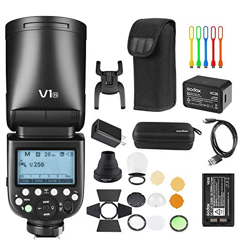 Godox V1-N TTL Flash Speedlite 76WS GN92 2.4G High-Speed Sync 1/8000s 2600mAh Li-ion Battery Round Head Camera Speedlight with Godox AK-R1 Accessories Kit Compatible for Nikon Cameras