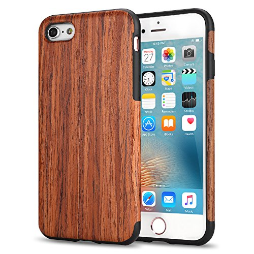 """TENDLIN iPhone 6s Plus Case/iPhone 6 Plus Case with Wood Grain Outside Soft TPU Silicone Hybrid Slim Case for iPhone 6 Plus 5.5"""" and iPhone 6s Plus 5.5"""" (Red Sandalwood)"""