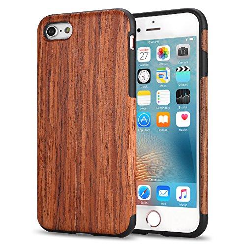 TENDLIN Cover iPhone 6s Legno Ibrida Silicone TPU Flessibile Custodia per iPhone 6 And iPhone 6s, Legno di Sandalo Rosso