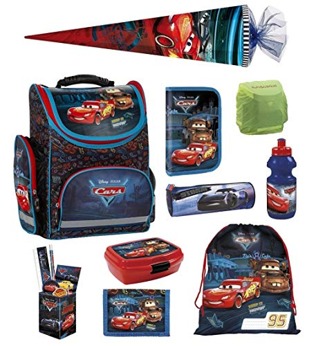 Familando Disney Cars Schulranzen-Set 10tlg. mit Regenschutz, Sportbeutel, Federmappe, Schultüte 85cm TEMBCA45 blau