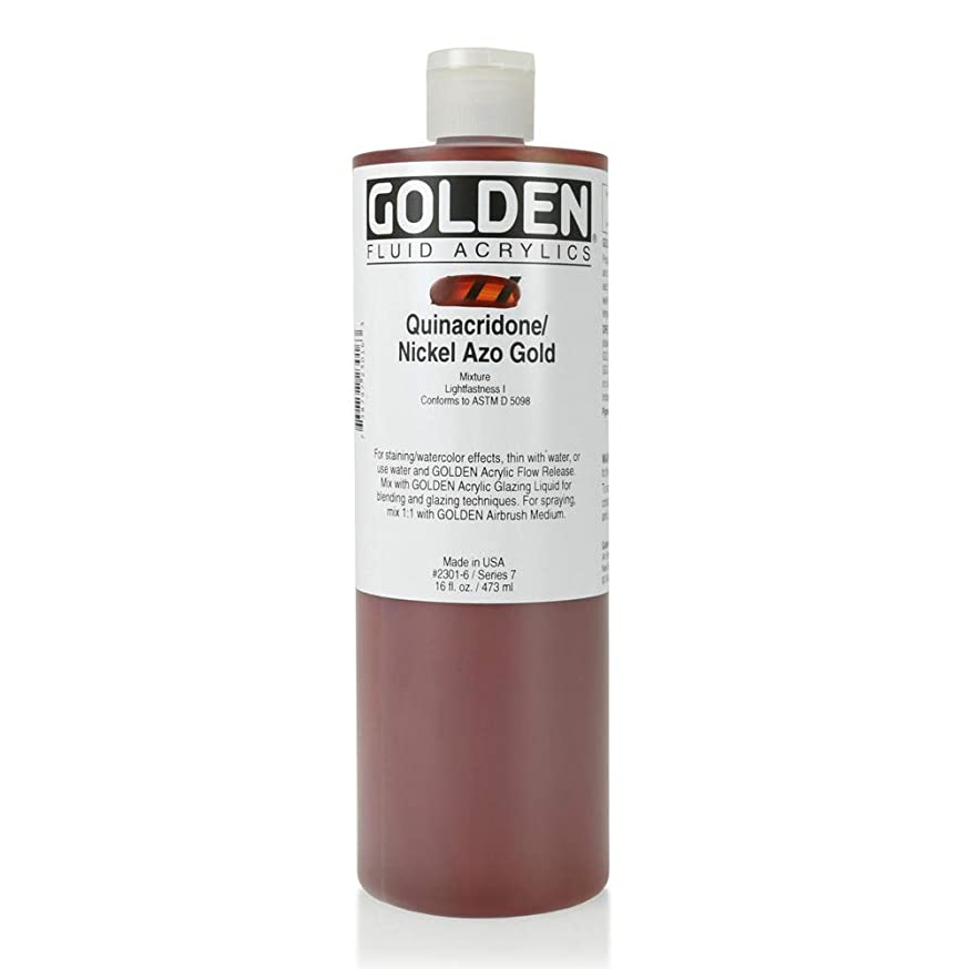 Golden Fluid Acrylic, 16 Ounce Bottle Quin Nickel AZO Gold