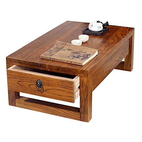 Hermosamente Mesilla Tabla Final Mesa de café estilo japonés mesa de centro de madera sólida Mirador Tabla dormitorio pequeño tabla de la oficina Mesa de ordenador (color: marrón, tamaño: 60 * 40 * 30
