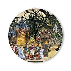 Pealrich Happy Halloween Children Wooden Wall Clock Round Silent Non Ticking Clocks Halloween Decorative Wall Hanging Clocks 12 Inch
